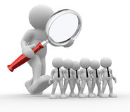 Magnifier. 3d people - man, person with a magnifier. Audit of the business Stock Photo