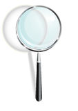 Magnifier. Isolated metalic magnifier with shadow, vector vector illustration