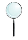 Magnifier. Isolated metalic magnifier with black handle, vector vector illustration