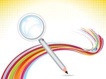 Magnifier abstrato com fundo do lápis Imagens de Stock Royalty Free