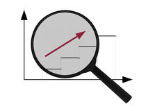 Magnifier and arrow Stock Images