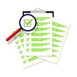 Magnifier assessment checklist icon. Vector flat style symbol. Eps 10 stock illustration