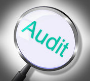 Magnifier Audit Represents Auditing Research And Verification. Magnifier Audit Indicating Inspect Finance And Searches Royalty Free Stock Images