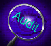 Magnifier Audit Shows Magnify Search And Research. Audit Magnifier Meaning Magnification Searching And Auditing Stock Photos