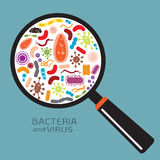 Magnifier with bacteria and virus Stock Image