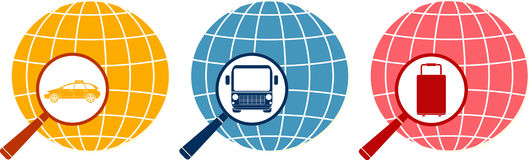 Magnifier with bag, taxi and bus on planet Royalty Free Stock Photo