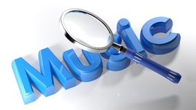 Magnifier on blue music - 3D rendering. A magnifier is passing over the write Music, written with 3D blue letters laying on a white surface - 3D rendering Royalty Free Stock Image