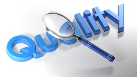Magnifier on blue Quality - 3D rendering. A magnifier is passing over the write `Quality`, written with blue 3D letters laying on a white surface - 3D rendering Stock Image