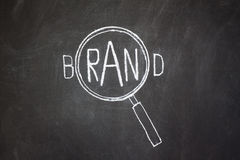 Magnifier and 'Brand' word Stock Images