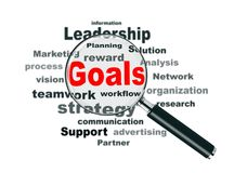 Magnifier and Business Goals Royalty Free Stock Images