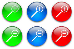 Magnifier buttons set Royalty Free Stock Photos