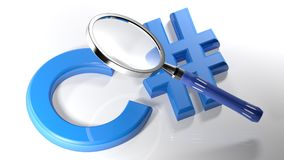 Magnifier on C  - 3D rendering Stock Images