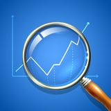 Magnifier and chart. Analysing business finance diagnostics data search concept vector illustration Stock Photography