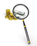 Magnifier, coins and banknotes. Stock Photography