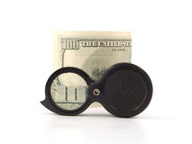 Magnifier con il dollaro Immagini Stock