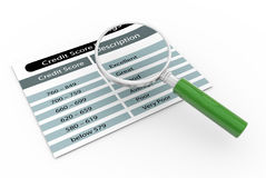 Magnifier and credit score rating. 3d render of magnifying glass zooming credit score rating Stock Image