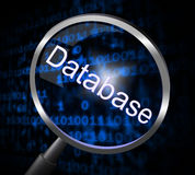Magnifier Databases Represents Searching Magnification And Searches. Databases Magnifier Meaning Search Searches And Megabyte Stock Photos