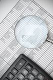 Magnifier and documents. Information search Royalty Free Stock Photo