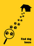 Magnifier with dog, paw trail and house. Find dog house. Flat style.  Royalty Free Stock Photo