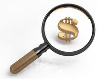 Magnifier and dollar. Magnifier and gold sign of dollar Stock Photo
