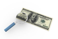 Magnifier and dollar note Stock Images