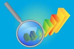 Magnifier en histogram stock fotografie