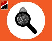 Magnifier en vingerafdruk royalty-vrije stock foto's