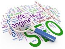 Magnifier en Wordcloud van SEO Royalty-vrije Stock Afbeeldingen