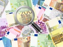 Magnifier on euros background Stock Photos
