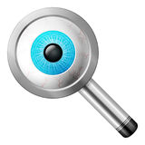 Magnifier eye. Magnifier with eye on a white background stock illustration