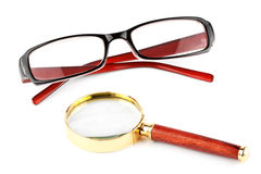Magnifier and eyeglass Royalty Free Stock Image