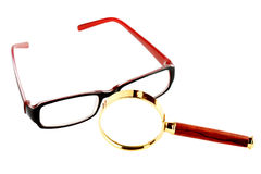 Magnifier and eyeglass Stock Photography