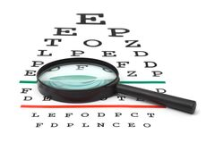 Magnifier on eyesight test chart Stock Photos