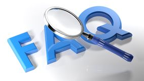 Magnifier on FAQ - 3D rendering. A magnifier is passing over the write `FAQ`, written with blue 3D letters laying on a white surface - 3D rendering Royalty Free Stock Image