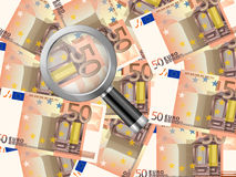 Magnifier on fifty euro background. Magnifying glass on fifty euro background Stock Images
