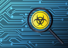 Magnifier finding virus infected with circuit board background. A magnifier finding virus infected with circuit board background Royalty Free Stock Images