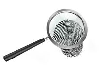 Magnifier and fingerprint. Magnifying glass examining a finger print Royalty Free Stock Images