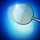 Magnifier with fingerprint. Magnifier on blue background with fingerpint royalty free illustration