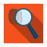 Magnifier and fingerprint. Detection of criminals by fingerprint.Prison single icon in flat style vector symbol stock. Web illustration Stock Photo