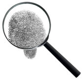 Magnifier and fingerprint isolated on white. The big magnifier and fingerprint isolated on a white background Stock Images