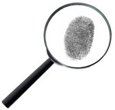 Magnifier and fingerprint isolated on white Royalty Free Stock Photography
