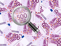 Magnifier on five hundred euro background Royalty Free Stock Image
