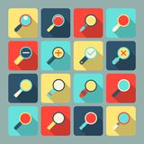 Magnifier flat icon set Royalty Free Stock Photos