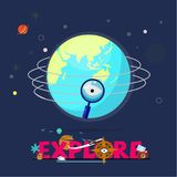 Magnifier flying around the world. explorer concept - vector. Magnifier flying around the world. explorer concept. logotype for header design- vector Royalty Free Stock Photos