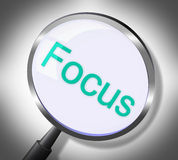 Magnifier Focus Means Search Attention And Magnification. Magnifier Focus Showing Concentrate Aim And Searches Stock Photo