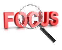 Magnifier Focus Text. Magnifier Glass Focused on a Blurry Focus Red Text 3D Illustration on White vector illustration
