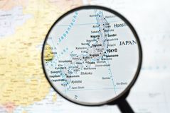 Magnifier focuses Japan Royalty Free Stock Photo