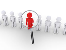 Magnifier focuses on the leader. 3d people in  a row and one is zoomed by magnifier Royalty Free Stock Image