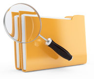 Magnifier and folders. On white. 3d searching concept Stock Photos