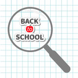 Magnifier glass Back to school chalk text Paper Stock Photos